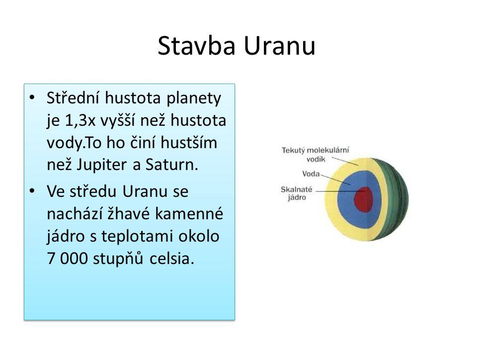 Stavba Uranu • Střední hustota planety je 1,3x vyšší než hustota vody.To ho činí hustším než Jupiter a Saturn. • Ve středu Uranu se nachází žhavé kame
