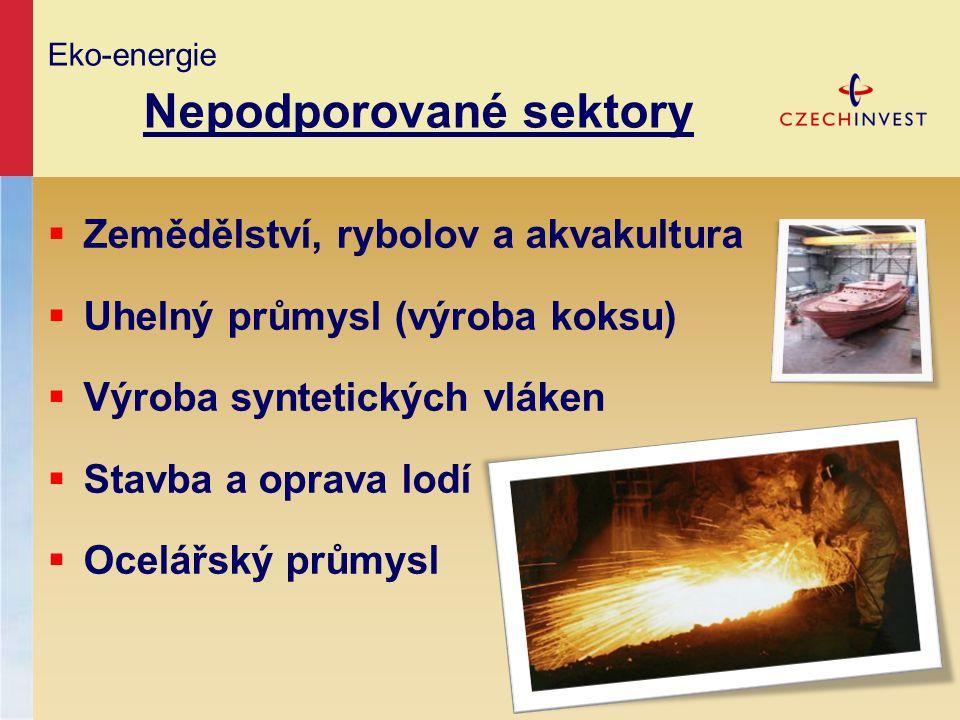 Eko-energie Nepodporované sektory  Zemědělství, rybolov a akvakultura  Uhelný průmysl (výroba koksu)  Výroba syntetických vláken  Stavba a oprava
