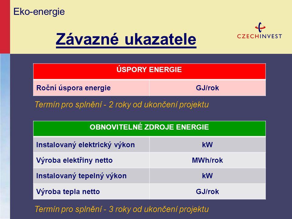 Eko-energie Závazné ukazatele OBNOVITELNÉ ZDROJE ENERGIE Instalovaný elektrický výkonkW Výroba elektřiny nettoMWh/rok Instalovaný tepelný výkonkW Výro