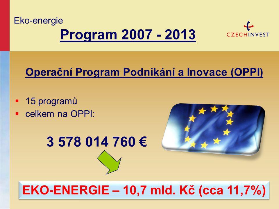 Operační Program Podnikání a Inovace (OPPI)  15 programů  celkem na OPPI: 3 578 014 760 € Eko-energie Program 2007 - 2013 EKO-ENERGIE – 10,7 mld. Kč