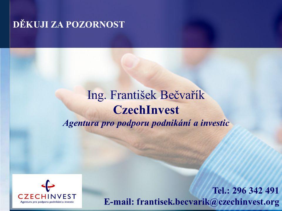Ing. František Bečvařík CzechInvest Agentura pro podporu podnikání a investic Tel.: 296 342 491 E-mail: frantisek.becvarik@czechinvest.org DĚKUJI ZA P