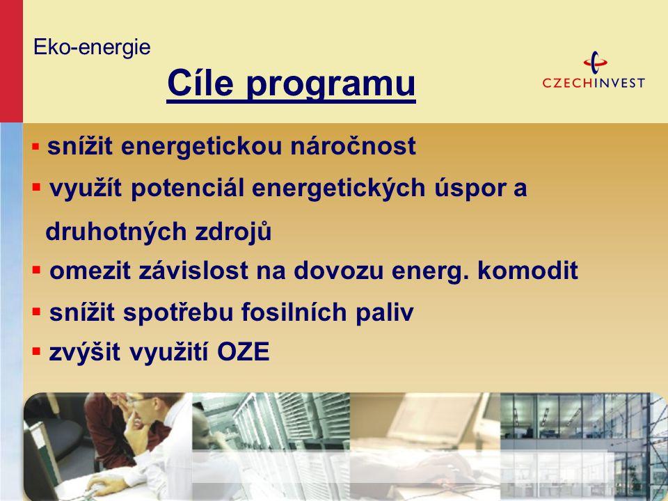 Eko-energie Cíle programu  snížit energetickou náročnost  využít potenciál energetických úspor a druhotných zdrojů  omezit závislost na dovozu ener