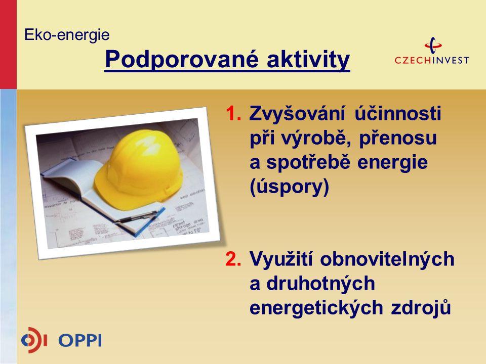Eko-energie Podporované aktivity 1.Zvyšování účinnosti při výrobě, přenosu a spotřebě energie (úspory) 2.Využití obnovitelných a druhotných energetick