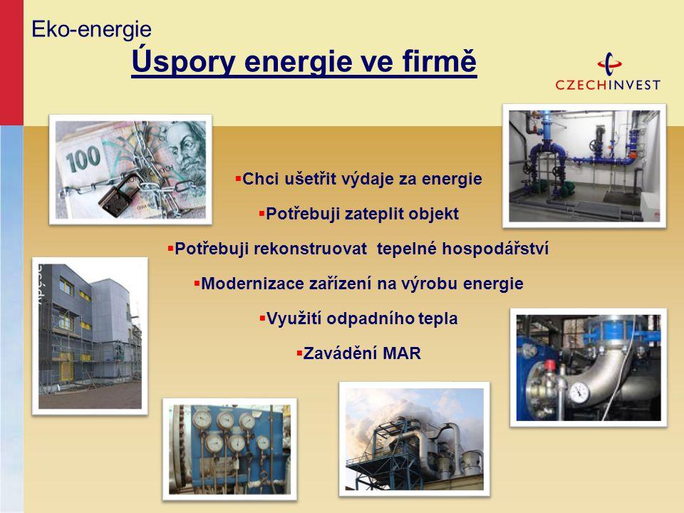 Eko-energie Úspory energie ve firmě  Chci ušetřit výdaje za energie  Potřebuji zateplit objekt  Potřebuji rekonstruovat tepelné hospodářství  Mode