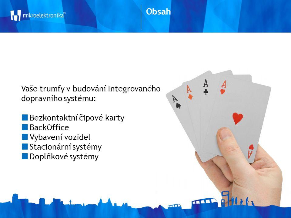 Vaše trumfy v budování Integrovaného dopravního systému: Bezkontaktní čipové karty BackOffice Vybavení vozidel Stacionární systémy Doplňkové systémy Obsah