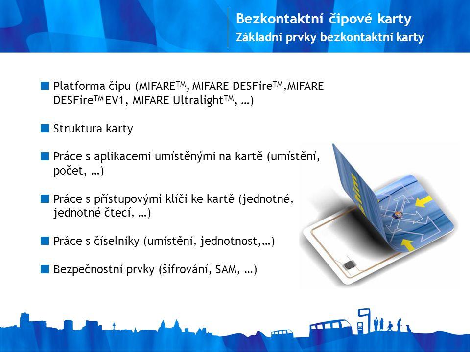 Základní prvky bezkontaktní karty Platforma čipu (MIFARE TM, MIFARE DESFire TM,MIFARE DESFire TM EV1, MIFARE Ultralight TM, …) Struktura karty Práce s aplikacemi umístěnými na kartě (umístění, počet, …) Práce s přístupovými klíči ke kartě (jednotné, jednotné čtecí, …) Práce s číselníky (umístění, jednotnost,…) Bezpečnostní prvky (šifrování, SAM, …)