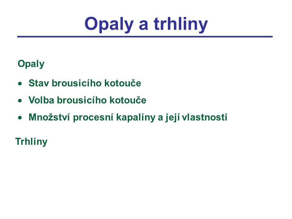 Opaly a trhliny  Stav brousicího kotouče  Volba brousicího kotouče  Množství procesní kapaliny a její vlastnosti Opaly Trhliny