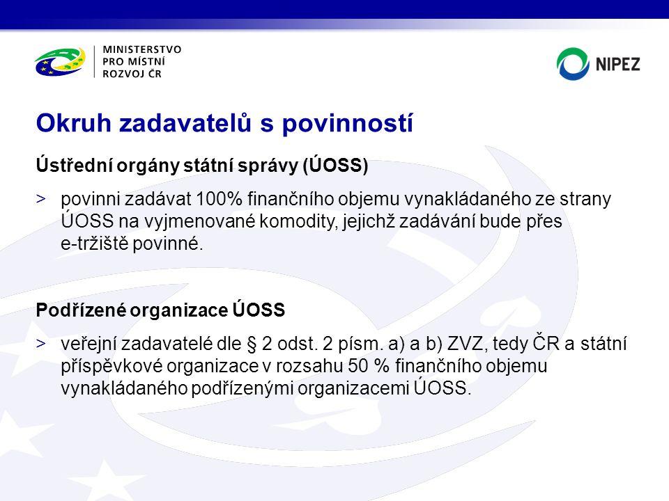 Ústřední orgány státní správy (ÚOSS) >povinni zadávat 100% finančního objemu vynakládaného ze strany ÚOSS na vyjmenované komodity, jejichž zadávání bu