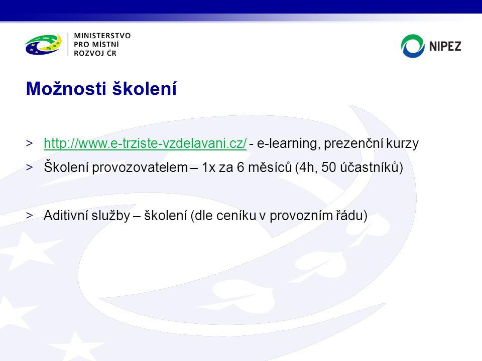 >http://www.e-trziste-vzdelavani.cz/ - e-learning, prezenční kurzyhttp://www.e-trziste-vzdelavani.cz/ >Školení provozovatelem – 1x za 6 měsíců (4h, 50