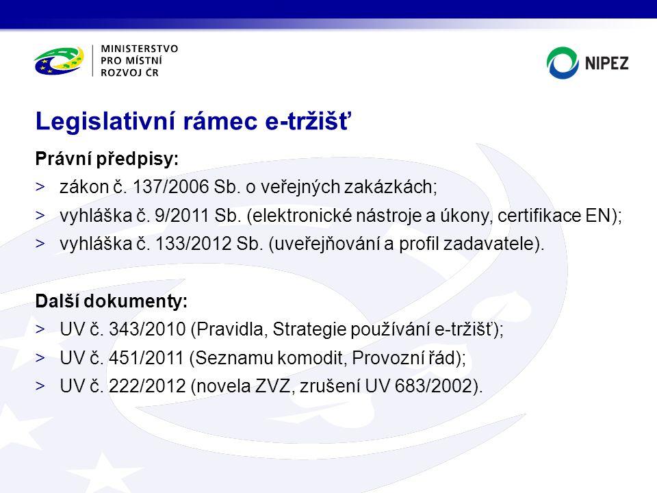 Právní předpisy: >zákon č. 137/2006 Sb. o veřejných zakázkách; >vyhláška č. 9/2011 Sb. (elektronické nástroje a úkony, certifikace EN); >vyhláška č. 1