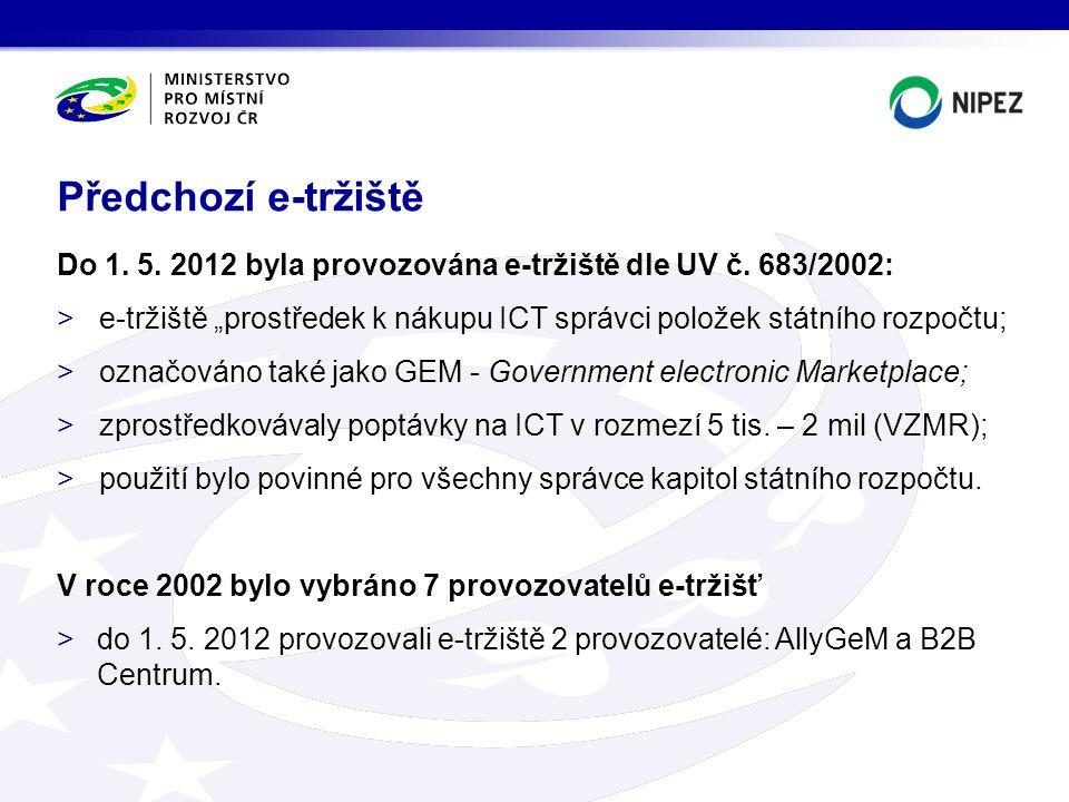 """Do 1. 5. 2012 byla provozována e-tržiště dle UV č. 683/2002: >e-tržiště """"prostředek k nákupu ICT správci položek státního rozpočtu; >označováno také j"""