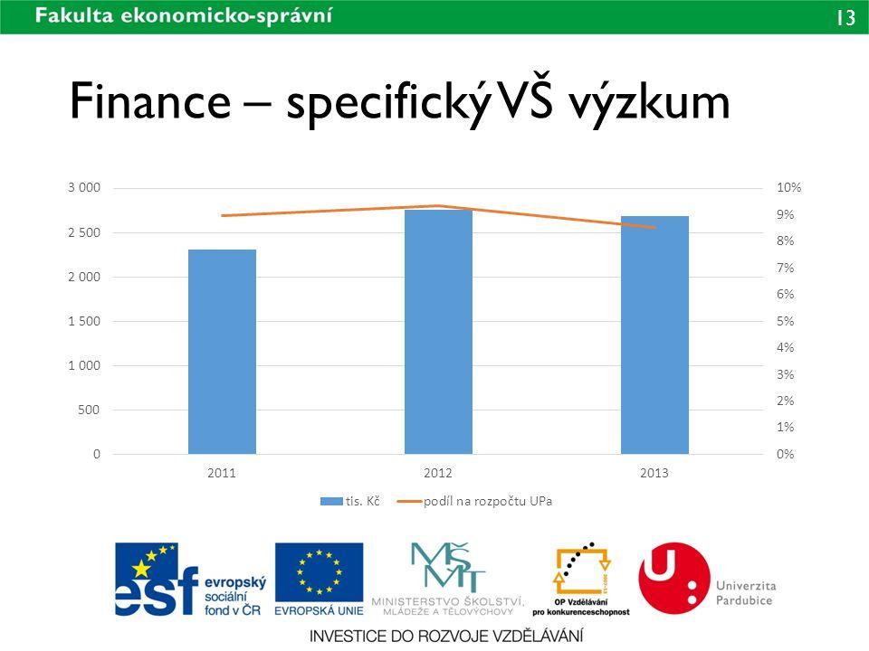 13 Finance – specifický VŠ výzkum
