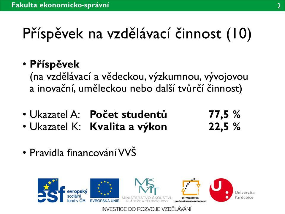 2 Příspěvek na vzdělávací činnost (10) • Příspěvek (na vzdělávací a vědeckou, výzkumnou, vývojovou a inovační, uměleckou nebo další tvůrčí činnost) • Ukazatel A:Počet studentů77,5 % • Ukazatel K:Kvalita a výkon22,5 % • Pravidla financování VVŠ