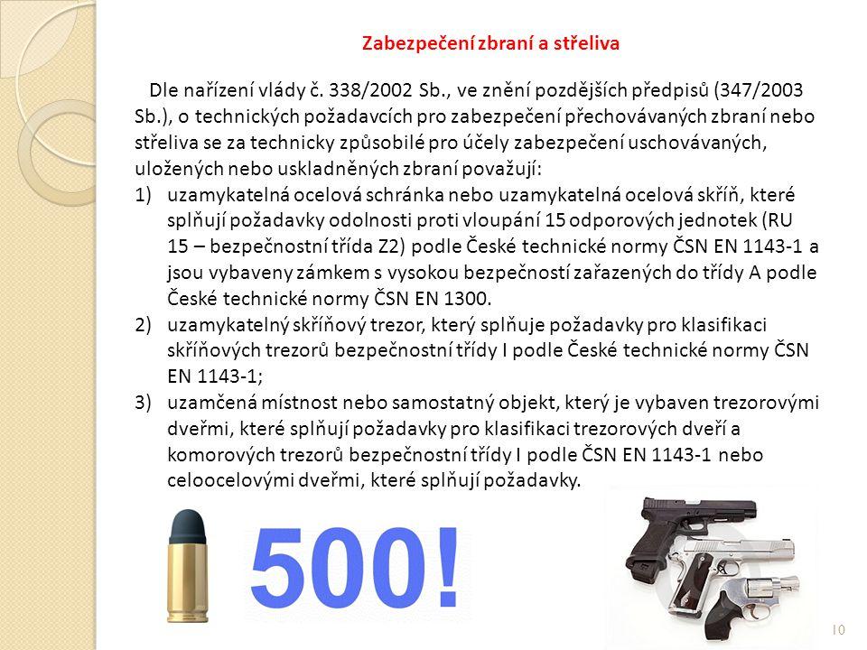 Zabezpečení zbraní a střeliva Dle nařízení vlády č.