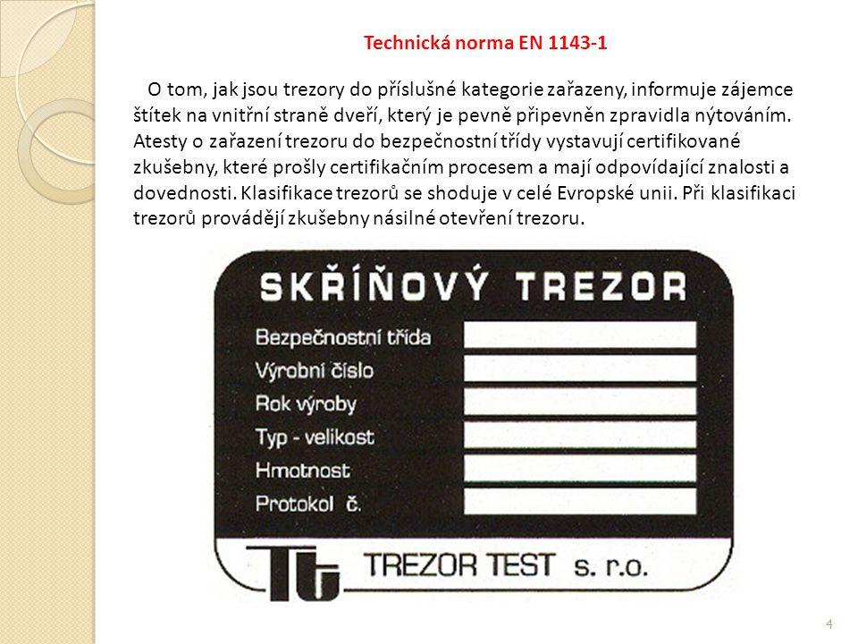 Technická norma EN 1143-1 O tom, jak jsou trezory do příslušné kategorie zařazeny, informuje zájemce štítek na vnitřní straně dveří, který je pevně připevněn zpravidla nýtováním.