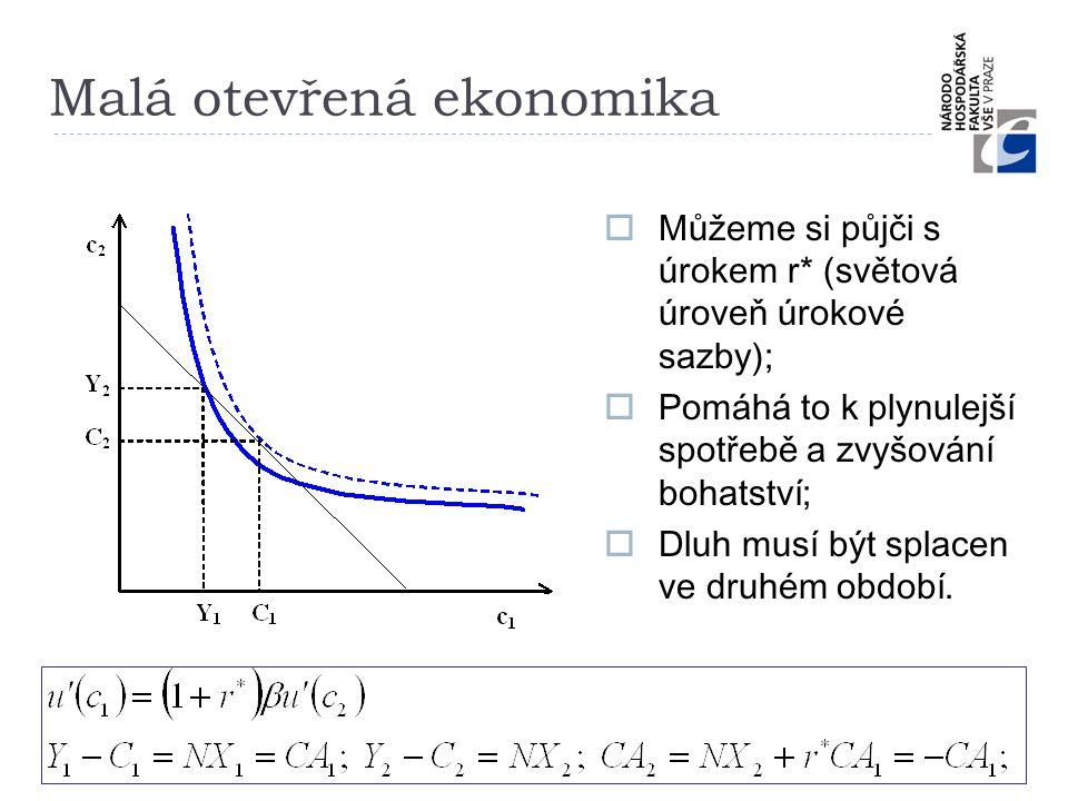Malá otevřená ekonomika  Můžeme si půjči s úrokem r* (světová úroveň úrokové sazby);  Pomáhá to k plynulejší spotřebě a zvyšování bohatství;  Dluh
