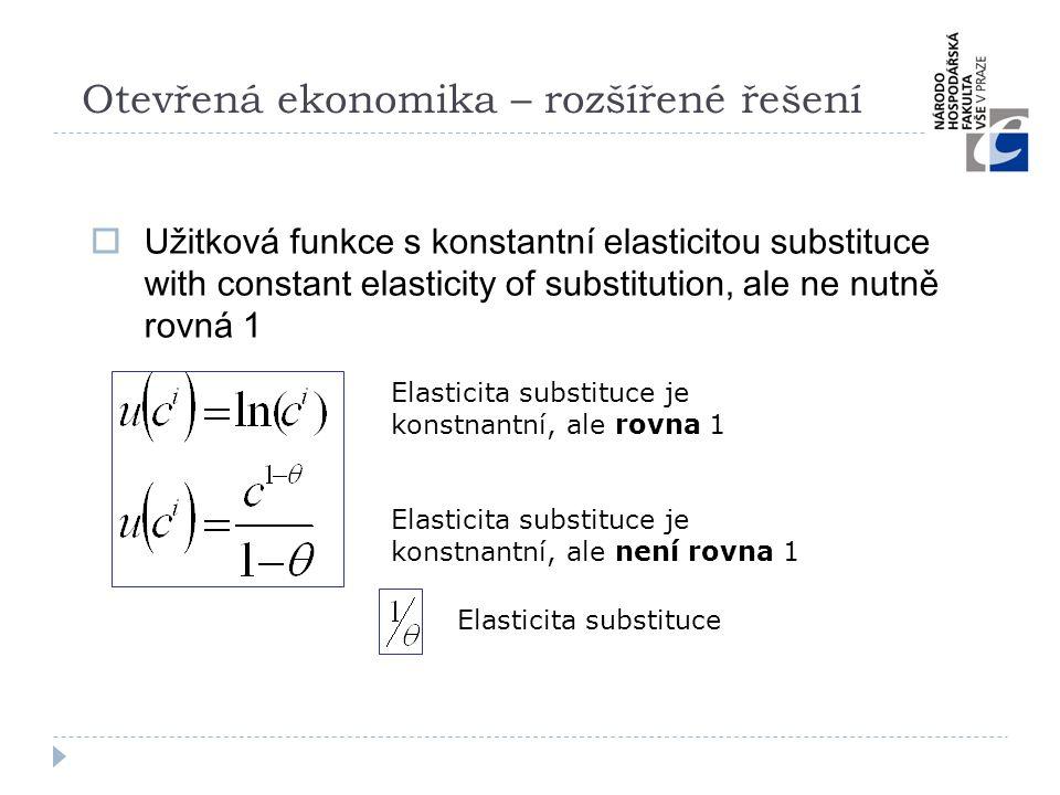 Otevřená ekonomika – rozšířené řešení  Užitková funkce s konstantní elasticitou substituce with constant elasticity of substitution, ale ne nutně rov
