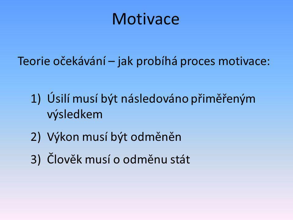 Teorie očekávání – jak probíhá proces motivace: 1)Úsilí musí být následováno přiměřeným výsledkem 2)Výkon musí být odměněn 3)Člověk musí o odměnu stát Motivace