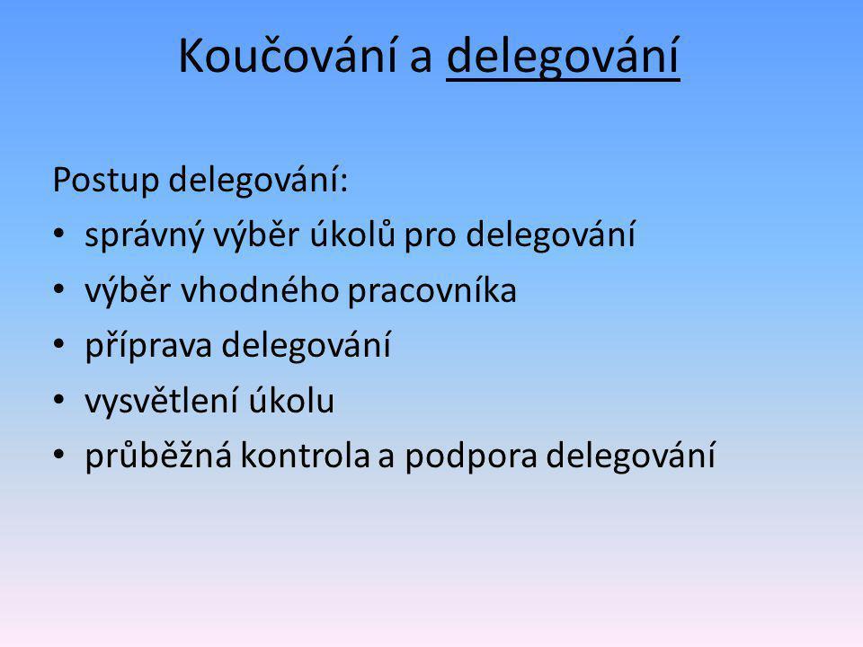 Koučování a delegování Postup delegování: • správný výběr úkolů pro delegování • výběr vhodného pracovníka • příprava delegování • vysvětlení úkolu • průběžná kontrola a podpora delegování