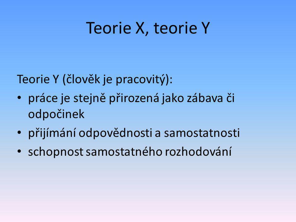 Teorie X, teorie Y Teorie Y (člověk je pracovitý): • práce je stejně přirozená jako zábava či odpočinek • přijímání odpovědnosti a samostatnosti • schopnost samostatného rozhodování