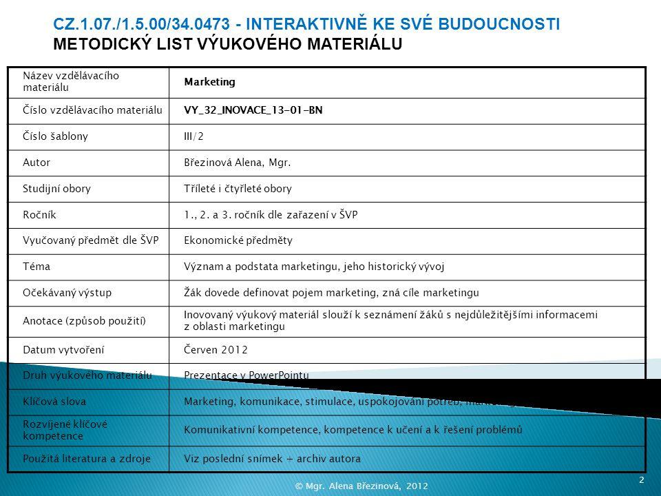 Marketing VY_32_INOVACE_13-01-BN 1© Mgr. Alena Březinová, 2012 Střední škola, Bohumín, příspěvková organizace, Husova 283, Bohumín