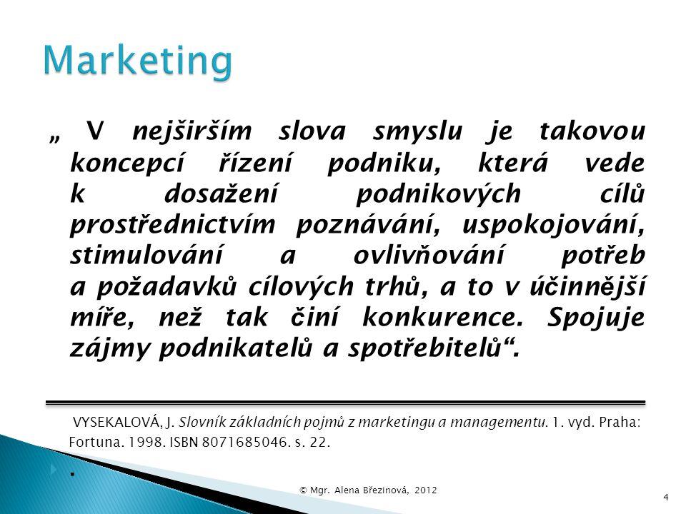  Marketing se stal často používaným termínem.  Mnohdy se používá místo pojmu trh, reklama, výzkum trhu, způsob nabídky. 3 © Mgr. Alena Březinová, 20