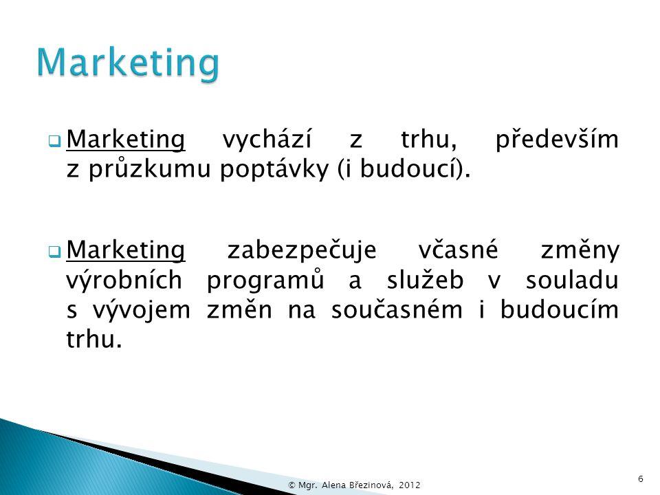  Marketing je komunikace se zákazníkem, která z nabídky a spotřeby produktu udělá mimořádný zážitek.
