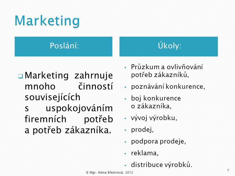  Marketing vychází z trhu, především z průzkumu poptávky (i budoucí).  Marketing zabezpečuje včasné změny výrobních programů a služeb v souladu s vý