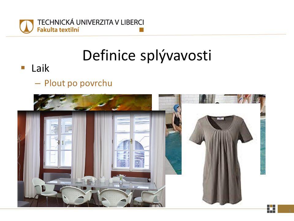 """Definice splývavosti  Odborná """"Souhrn vlastností plošné textilie, jako vláčnost, poddajnost a ohýbatelnost."""