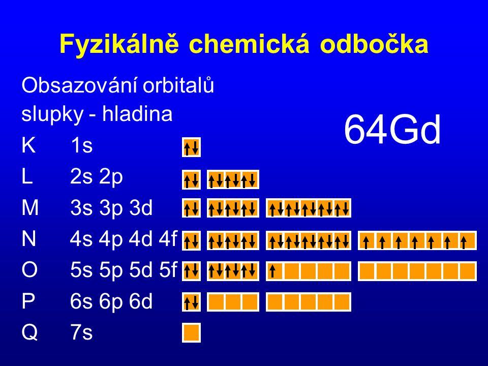 Obsazování orbitalů slupky - hladina K1s L2s 2p M3s 3p 3d N4s 4p 4d 4f O5s 5p 5d 5f P6s 6p 6d Q7s 64Gd Fyzikálně chemická odbočka