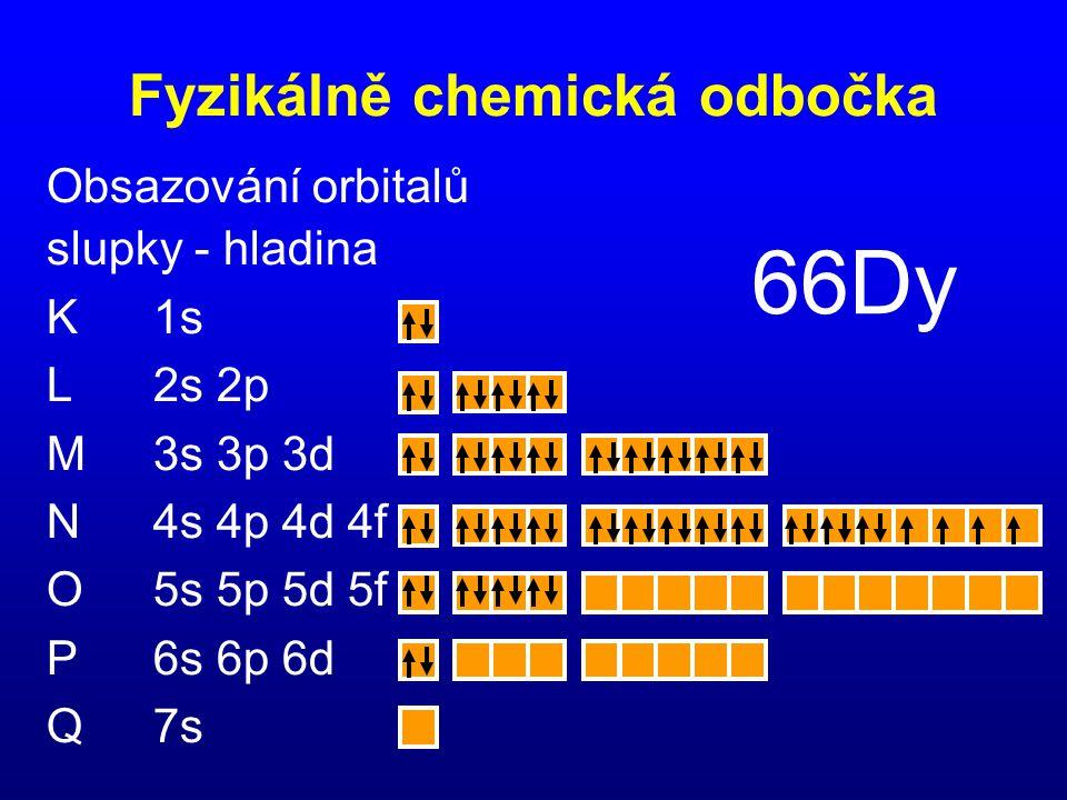 Obsazování orbitalů slupky - hladina K1s L2s 2p M3s 3p 3d N4s 4p 4d 4f O5s 5p 5d 5f P6s 6p 6d Q7s 66Dy Fyzikálně chemická odbočka