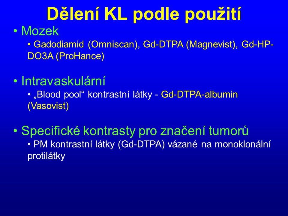 """Dělení KL podle použití • Mozek • Gadodiamid (Omniscan), Gd-DTPA (Magnevist), Gd-HP- DO3A (ProHance) • Intravaskulární • """"Blood pool"""" kontrastní látky"""