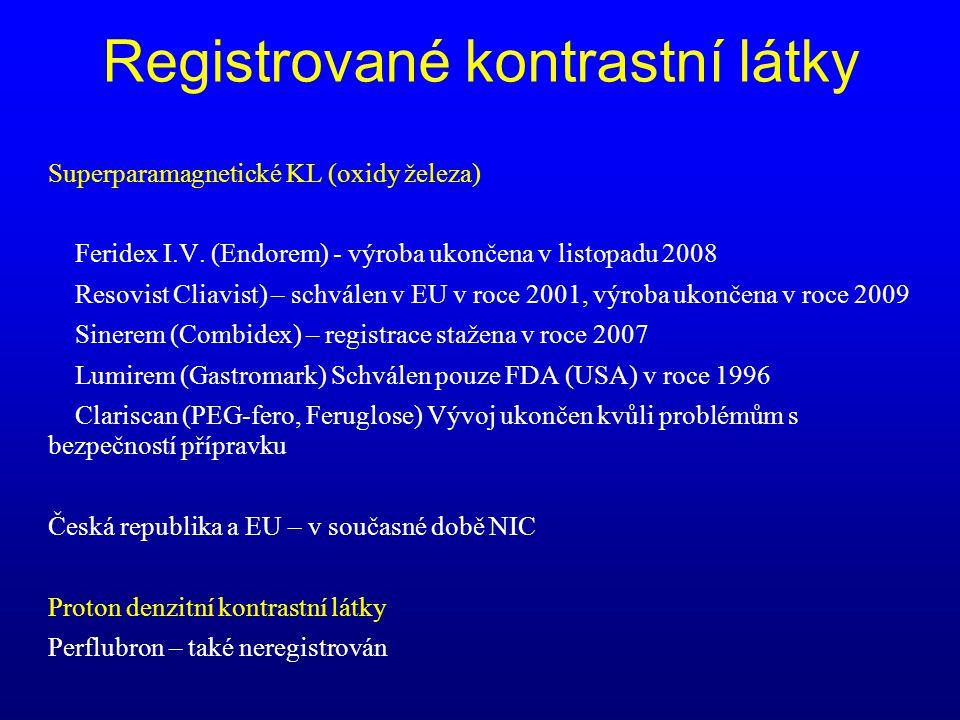 Superparamagnetické KL (oxidy železa) Feridex I.V. (Endorem) - výroba ukončena v listopadu 2008 Resovist Cliavist) – schválen v EU v roce 2001, výroba