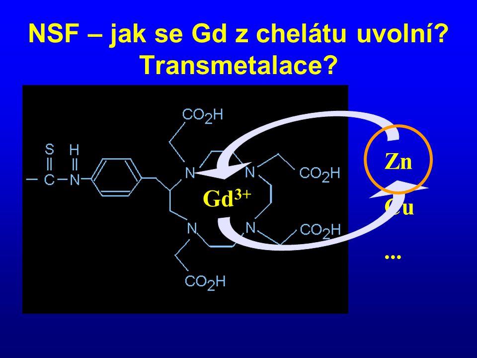 Gd 3+ Zn Cu... NSF – jak se Gd z chelátu uvolní? Transmetalace?