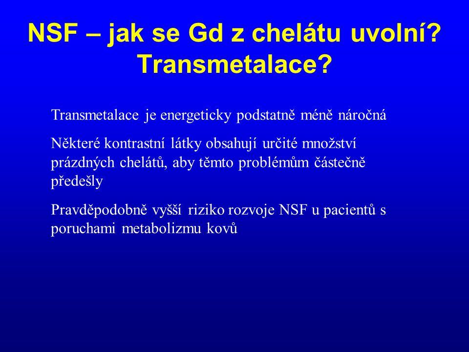 Transmetalace je energeticky podstatně méně náročná Některé kontrastní látky obsahují určité množství prázdných chelátů, aby těmto problémům částečně