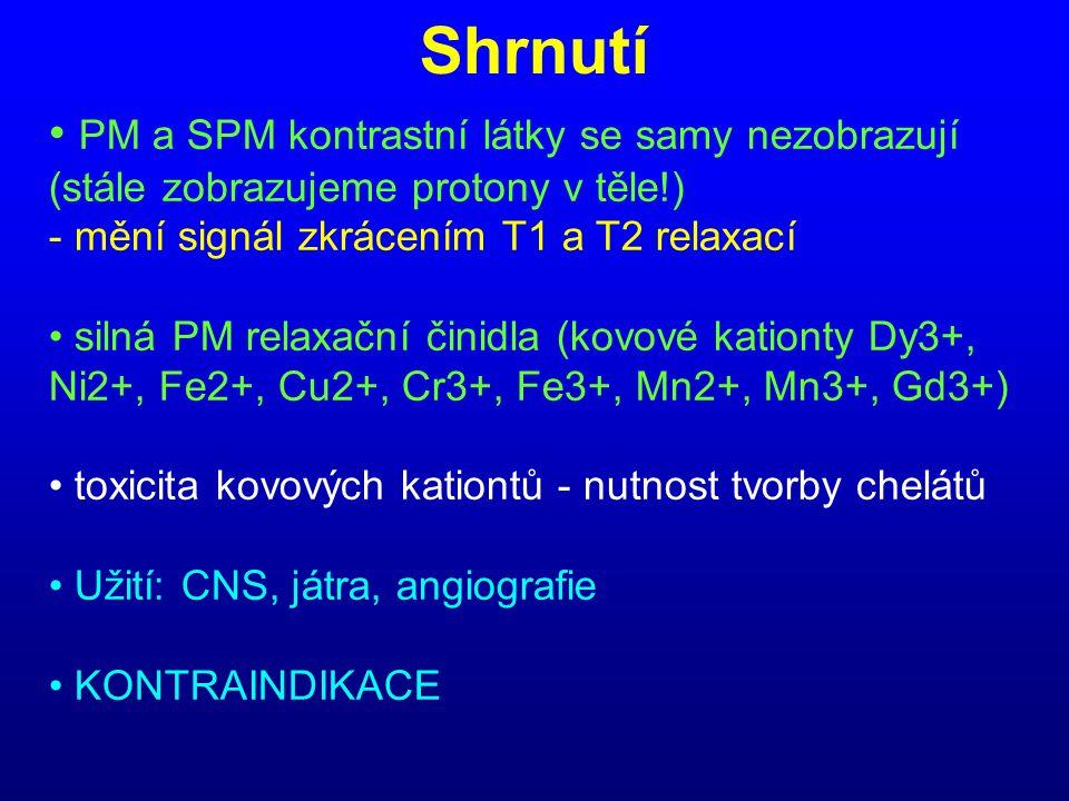 Shrnutí • PM a SPM kontrastní látky se samy nezobrazují (stále zobrazujeme protony v těle!) - mění signál zkrácením T1 a T2 relaxací • silná PM relaxa