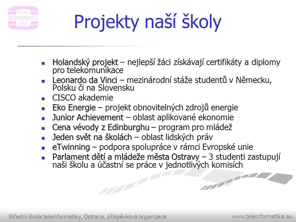Střední škola teleinformatiky, Ostrava, příspěvková organizace www.teleinformatika.eu Projekty naší školy  Holandský projekt  Holandský projekt – ne