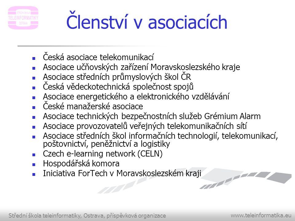 Střední škola teleinformatiky, Ostrava, příspěvková organizace www.teleinformatika.eu Členství v asociacích  Česká asociace telekomunikací  Asociace