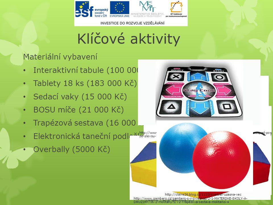 Klíčové aktivity Materiální vybavení • Interaktivní tabule (100 000 Kč) • Tablety 18 ks (183 000 Kč) • Sedací vaky (15 000 Kč) • BOSU míče (21 000 Kč)