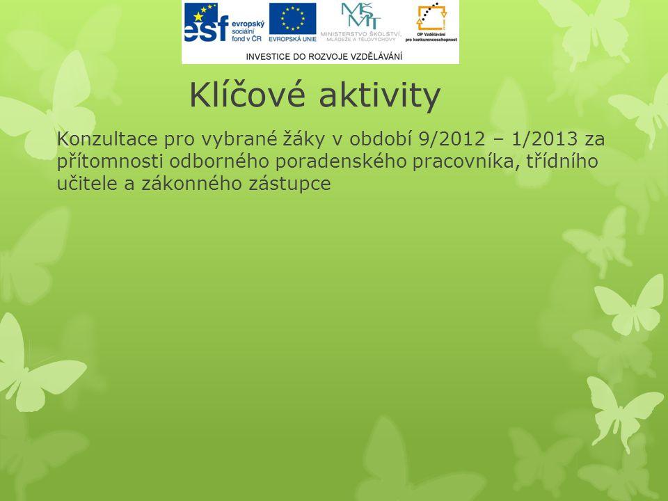 Klíčové aktivity Konzultace pro vybrané žáky v období 9/2012 – 1/2013 za přítomnosti odborného poradenského pracovníka, třídního učitele a zákonného z