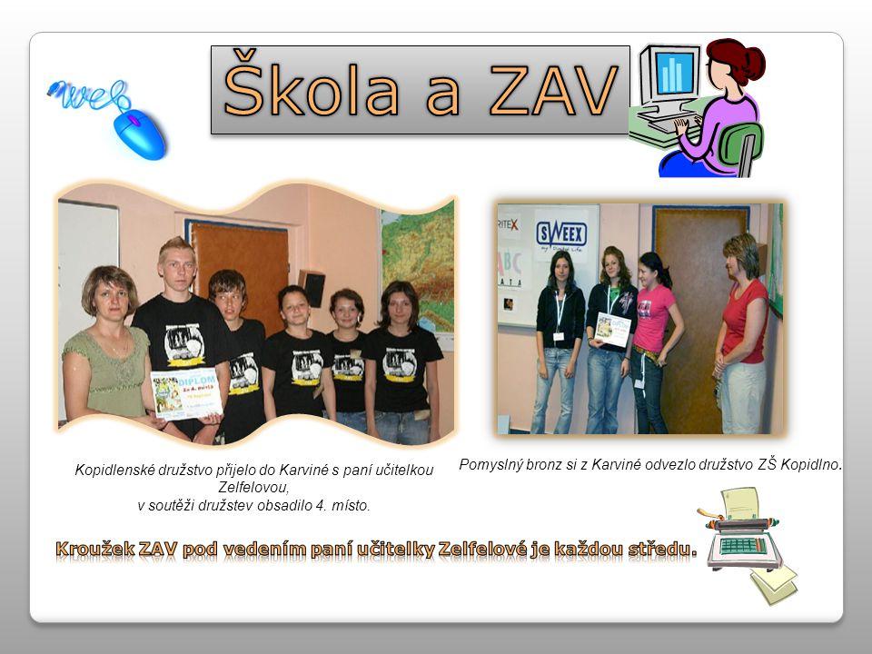 Kopidlenské družstvo přijelo do Karviné s paní učitelkou Zelfelovou, v soutěži družstev obsadilo 4.