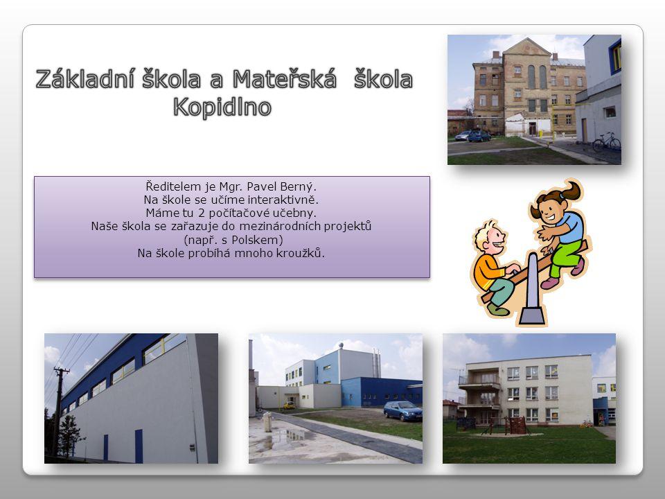Ředitelem je Mgr. Pavel Berný. Na škole se učíme interaktivně. Máme tu 2 počítačové učebny. Naše škola se zařazuje do mezinárodních projektů (např. s