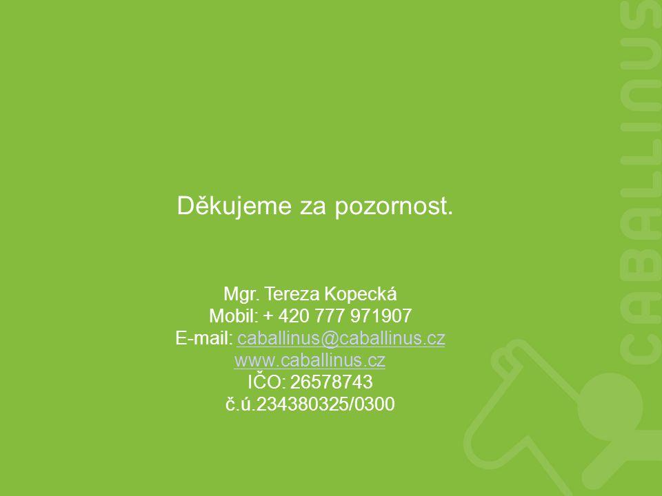 Mgr. Tereza Kopecká Mobil: + 420 777 971907 E-mail: caballinus@caballinus.czcaballinus@caballinus.cz www.caballinus.cz IČO: 26578743 č.ú.234380325/030