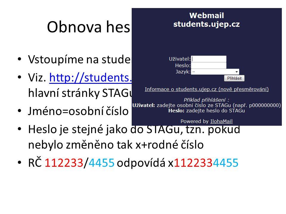 Obnova hesla pro Eduroam • Vlezeme na studentský email • Viz.