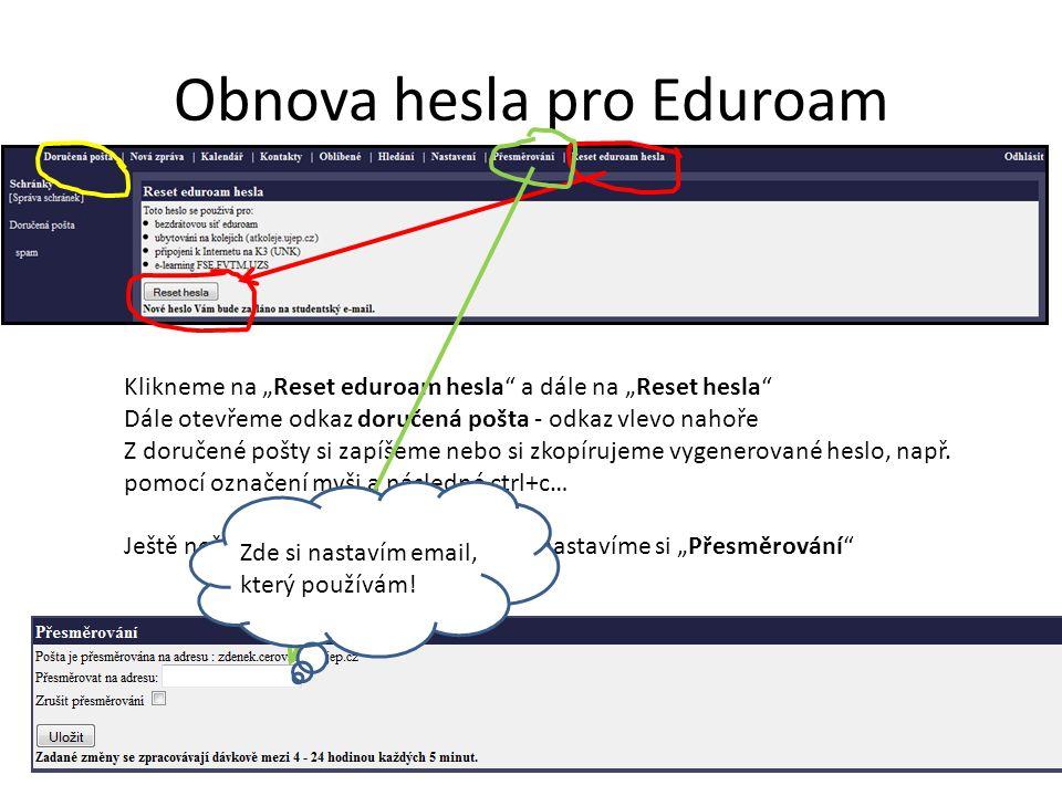 Obnova hesla pro Eduroam Uložit!
