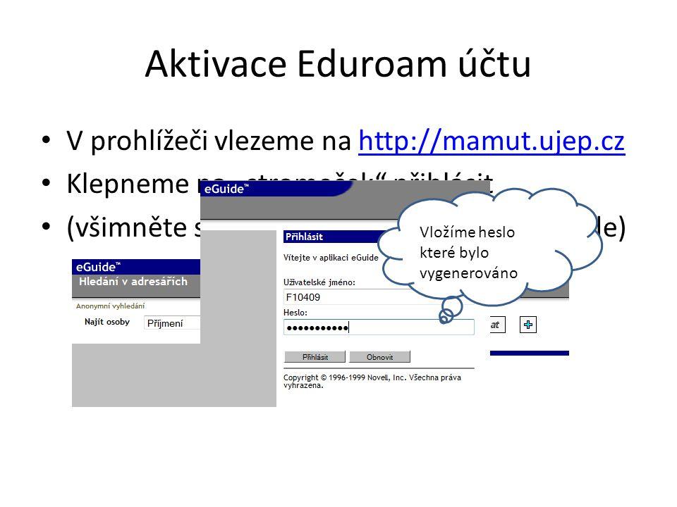 """Aktivace Eduroam účtu • Úspěšné přihlášení poznáte podle Vašeho jména v levém horním rohu • Klepneme na upravit informace a dále na položku """"Změnit heslo • Aktuální heslo můžeme opět vložit ze schránky(ctrl+v) a zvolíme si nové heslo • Nové heslo je heslo do EDUROAM!!"""
