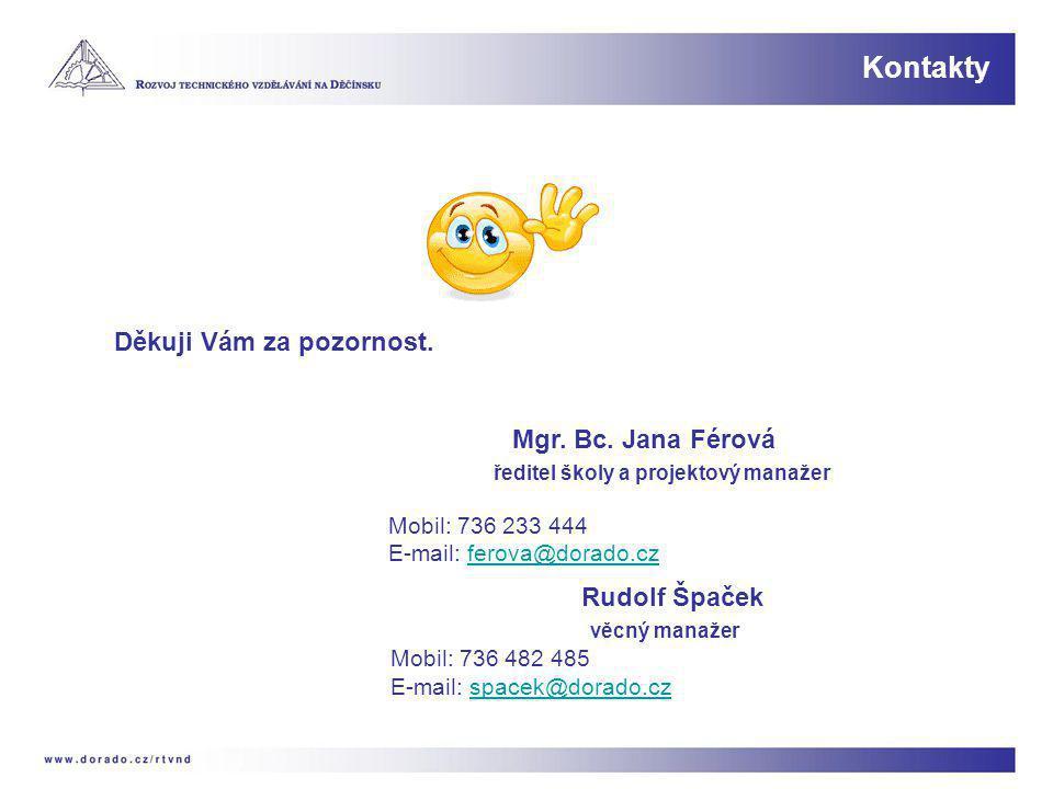 Kontakty Děkuji Vám za pozornost. Mgr. Bc. Jana Férová ředitel školy a projektový manažer Mobil: 736 233 444 E-mail: ferova@dorado.czferova@dorado.cz