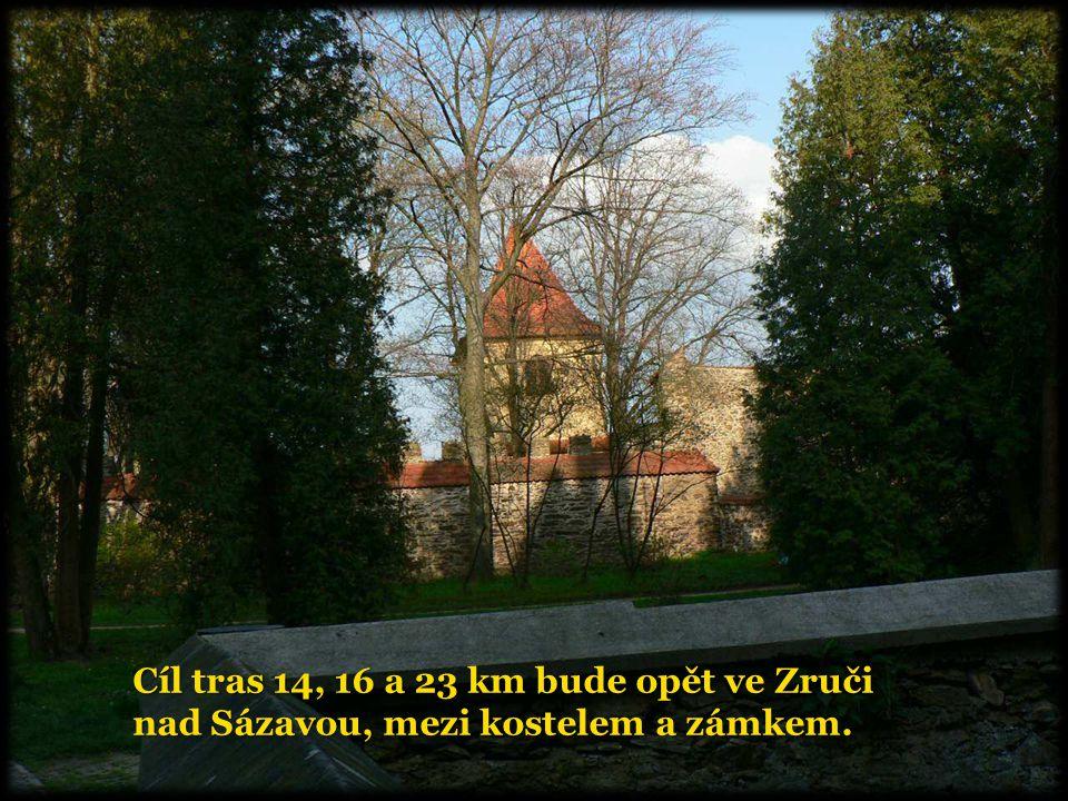 Cíl tras 14, 16 a 23 km bude opět ve Zruči nad Sázavou, mezi kostelem a zámkem.