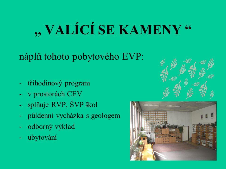 ,, VALÍCÍ SE KAMENY náplň tohoto pobytového EVP: -tříhodinový program -v prostorách CEV -splňuje RVP, ŠVP škol -půldenní vycházka s geologem -odborný výklad -ubytování