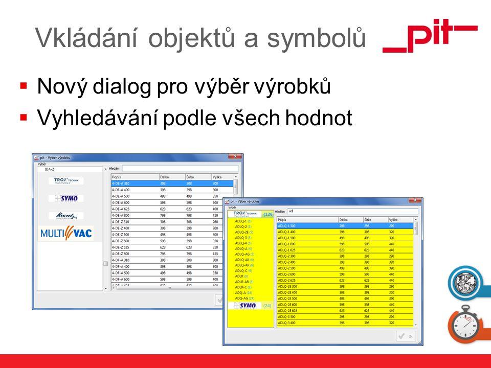 www.pit.de Vkládání objektů a symbolů  Nový dialog pro výběr výrobků  Vyhledávání podle všech hodnot